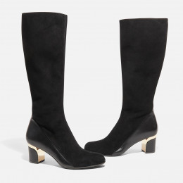 Emily - Black Nappa and Suede