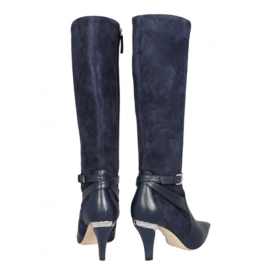 Violette Calf and Suede Navy