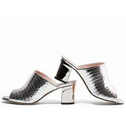 Charlotte Silver Printed Leather